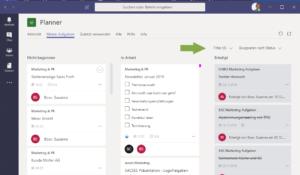 Microsoft Planner_ Gesamtübersicht_Filter und Gruppieren