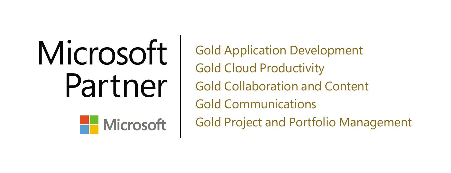 Microsoft Logo mit Auflistung der Kompetenzen